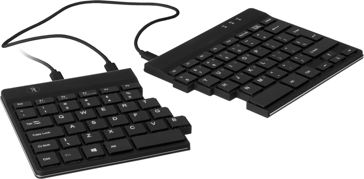 R-GO Tools Split USB toetsenbord Zwart Flexibel, Ergonomisch