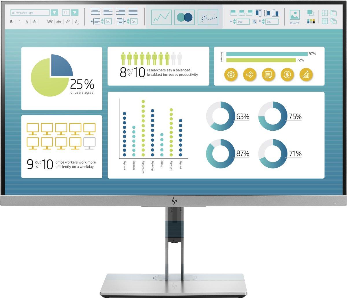 HP EliteDisplay E273 LED-monitor 68.6 cm (27 inch) Energielabel A+ (A+ - F) 1920 x 1080 pix Full HD 5 ms DisplayPort, HDMI, VGA, USB 3.0 IPS LED