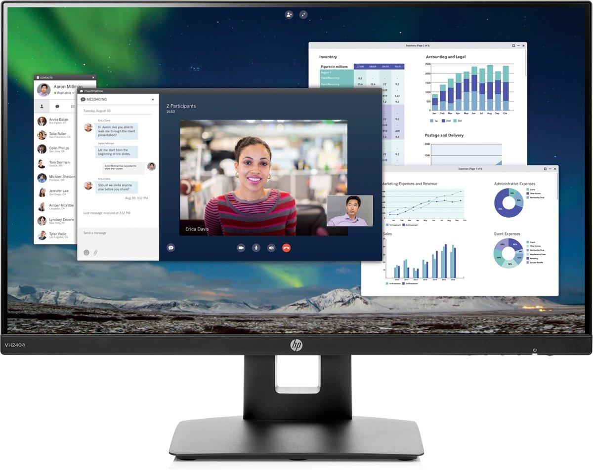 HP VH240A LED-monitor 60.5 cm (23.8 inch) Energielabel A (A+ - F) 1920 x 1080 pix Full HD 5 ms HDMI, VGA IPS LED