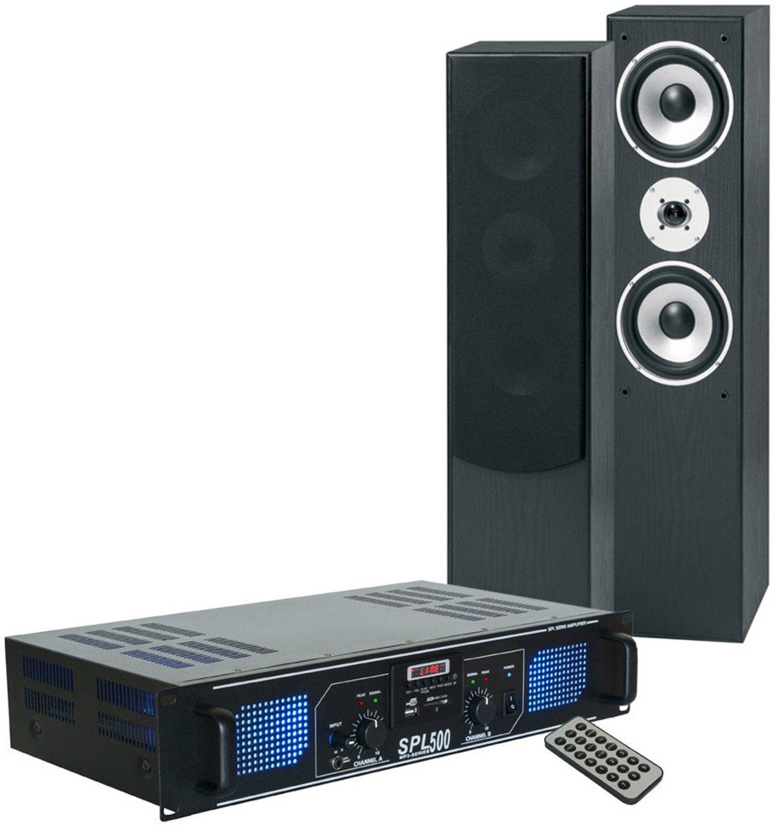 SkyTronic stereo installatie met versterker, speakers & kabel