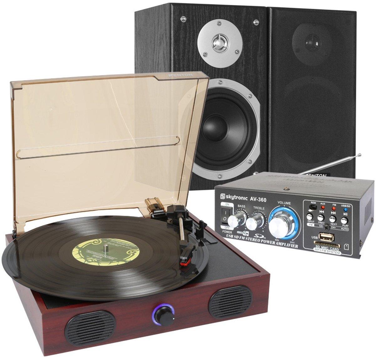 Platenspeler stereo set - Complete set met platenspeler, USB / SD speler, versterker, spea