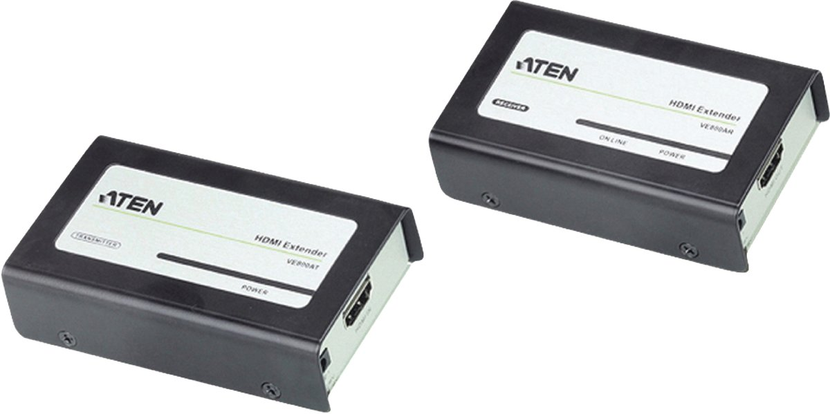 Aten VE800A audio/video extender AV-receiver Zwart