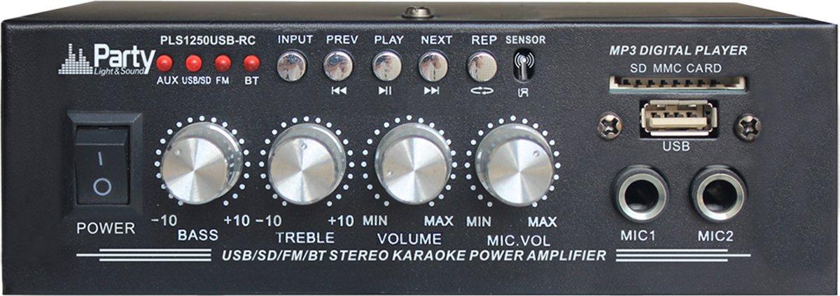 Party PLS1250USB-RC mini versterker bluetooth USB/SD/FM radio 2X25W