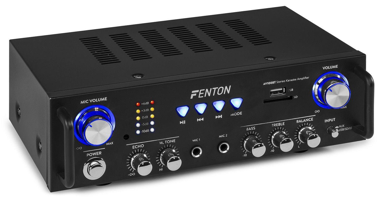 Fenton AV100BT stereo HiFi karaoke versterker met Bluetooth - 2x 50W