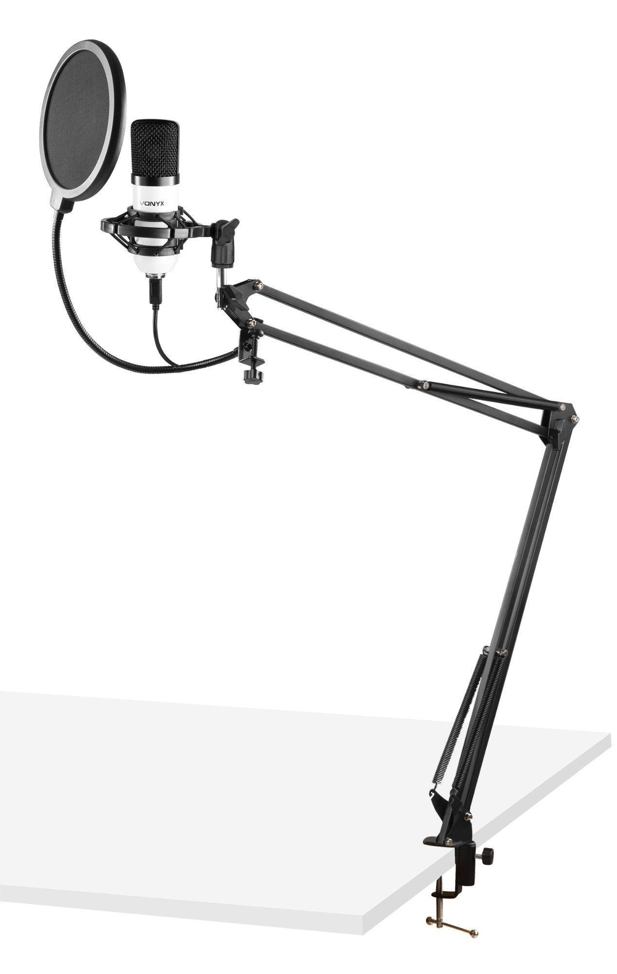 Vonyx CMS300W USB Studio microfoon met verstelbare arm - Wit