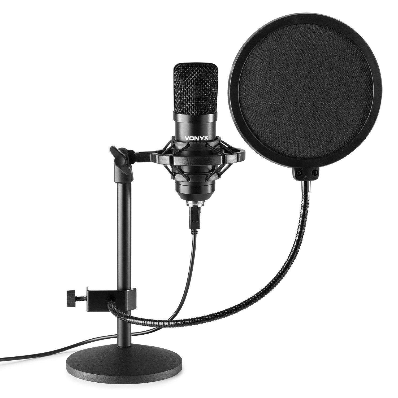 Vonyx CMTS300 USB Studio microfoon met tafelstandaard - Zwart