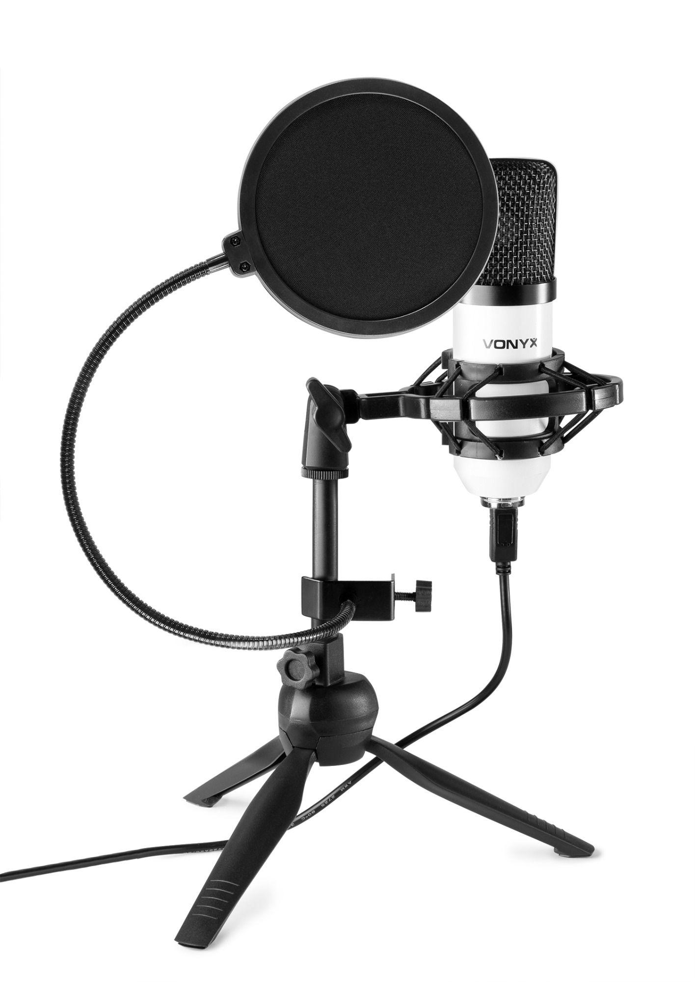 Vonyx CM300W USB studio microfoon met popfilter - Wit