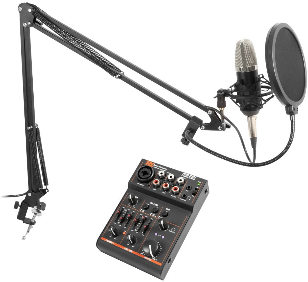 Power Dynamics Podcast Microfoonset met USB mixer