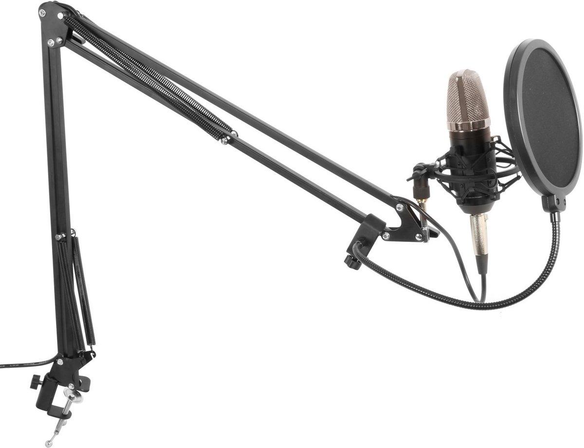 Studiomicrofoon - Vonyx studiomicrofoon met verstelbare arm, schockmount en popfilter voor