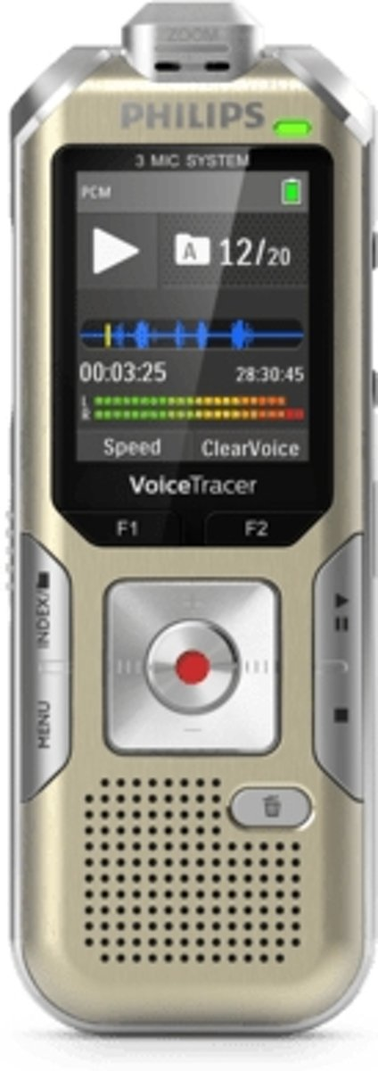 Philips Voice Tracer DVT6510 dictaphone Intern geheugen & flash-kaart Champagne, Zilver