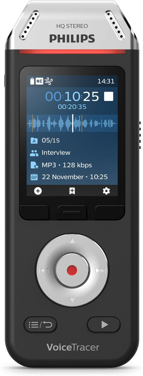 Philips VoiceTracer Audiorecorder DVT2110, 2 hifi-microfoons, Stereo MP3- en PCM-opnames, 8 GB/88 dagen, Kleurendisplay, Oplaadbare accu