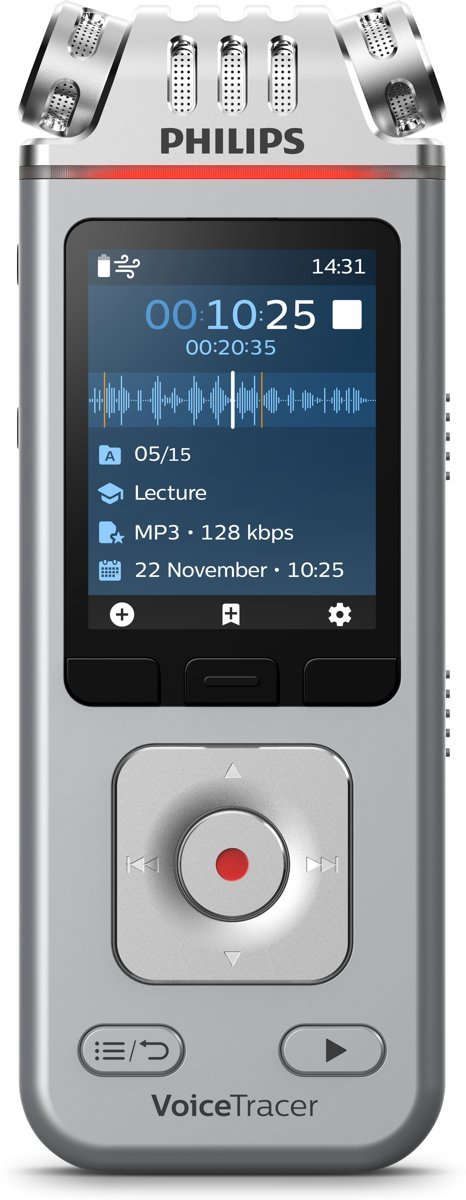 Philips VoiceTracer Audiorecorder DVT4110, Drie hifi-microfoons, 8 GB intern geheugen/88 dagen, Oplaadbare accu, Smartphone-app (Android/iOS)