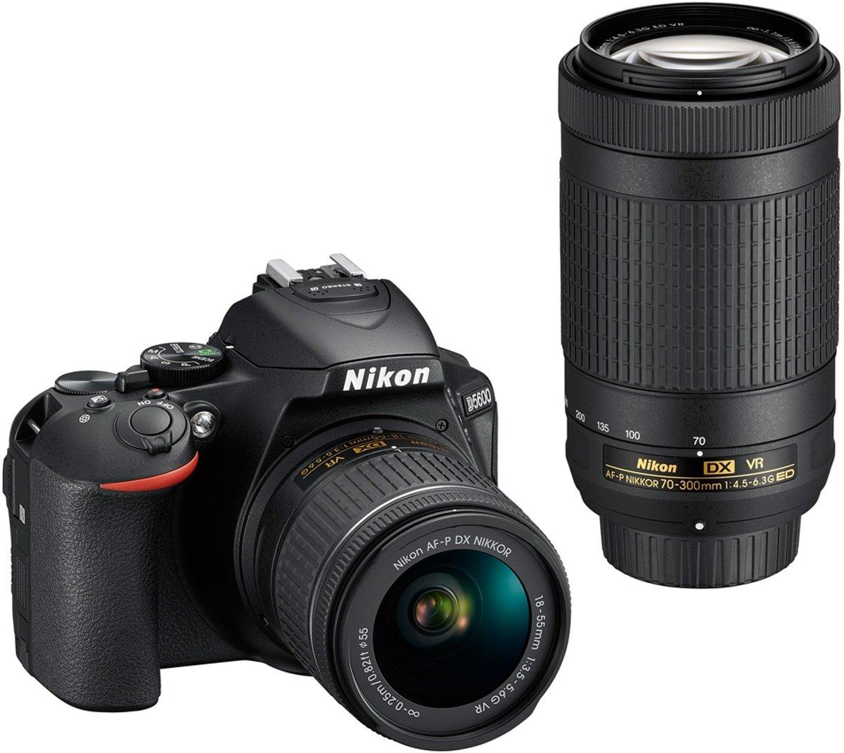 Nikon D5600 + AF-P 18-55mm VR + AF-P 70-300mm VR - Zwart