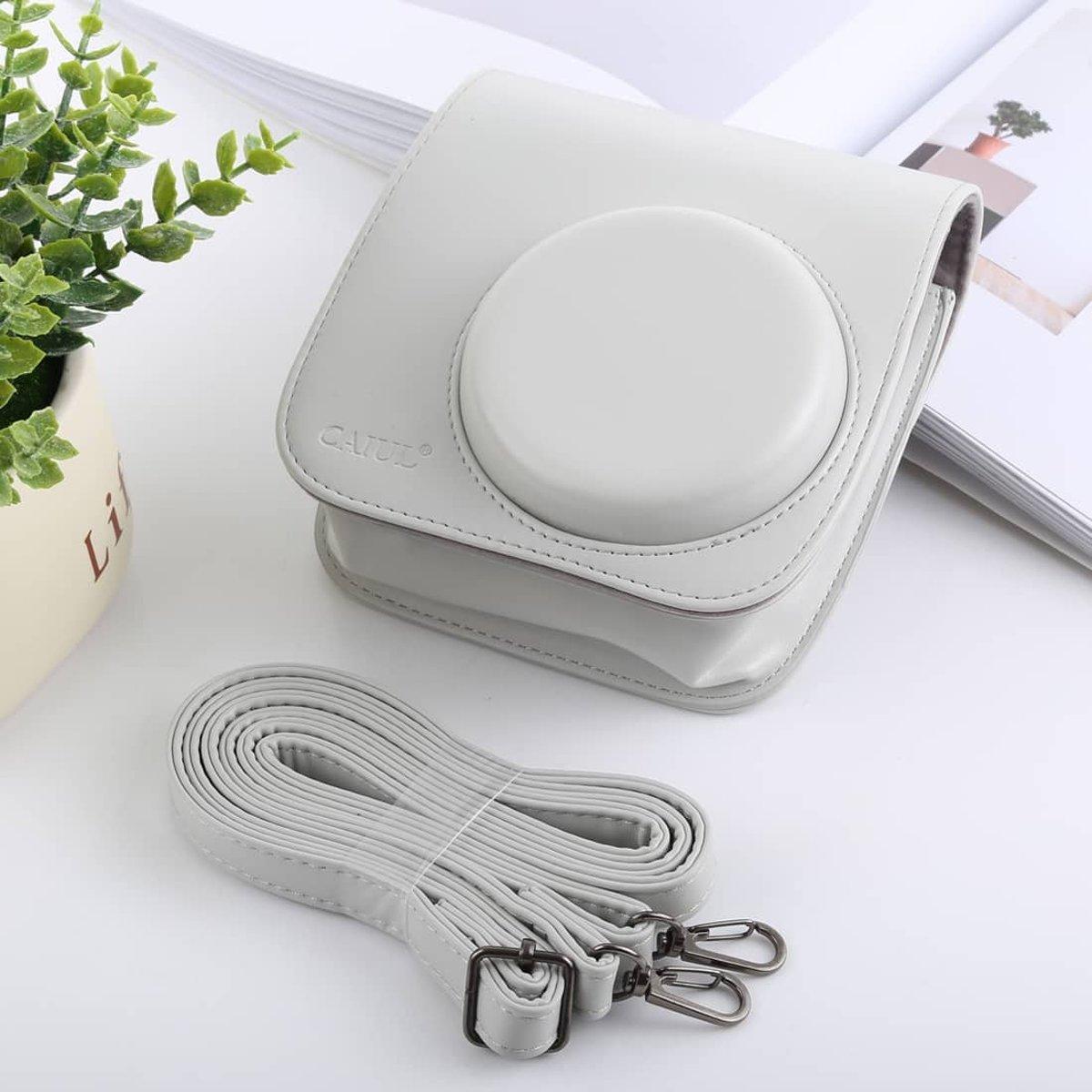 Retro stijl Full Body Camera PU lederen tas tas met riem voor FUJIFILM - Wit