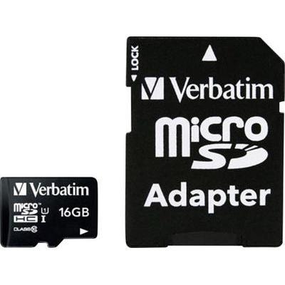 Verbatim MICRO SDHC 16GB CL 10 ADAP 16 GB microSDHC-kaart Class 10 incl. SD-adapter