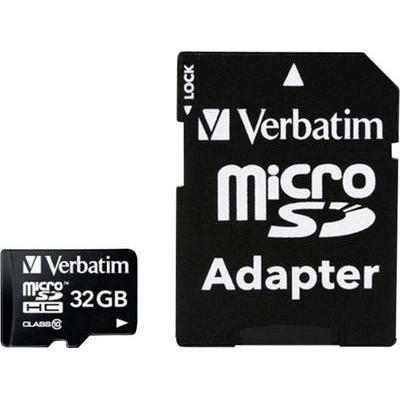 Verbatim MICRO SDHC 32GB CL 10 ADAP 32 GB microSDHC-kaart Class 10 incl. SD-adapter