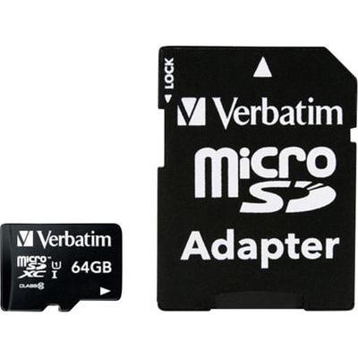 Verbatim MICRO SDXC 64GB CL 10 ADAP 64 GB microSDXC-kaart Class 10 incl. SD-adapter