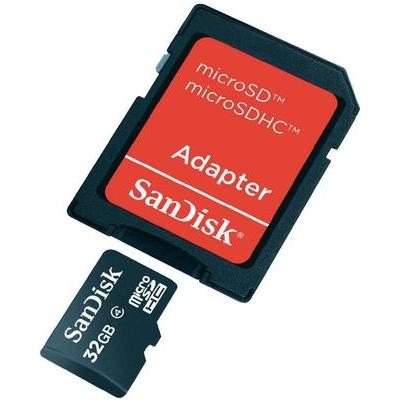 SanDisk 32 GB microSDHC-kaart Class 4 incl. SD-adapter