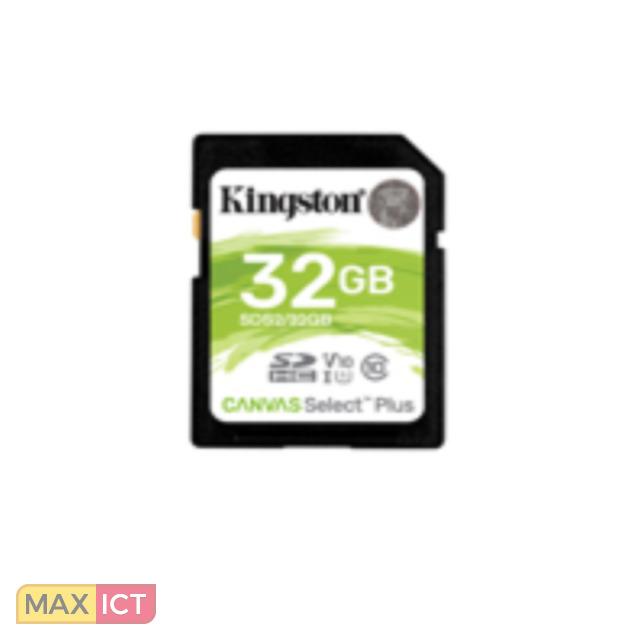 Kingston Technology Canvas Select Plus. Capaciteit: 32 GB, Soort flashgeheugen: SDHC, Flash memory klasse: Klasse 10, Intern geheugentype: UHS-I, Leessnelheid: 100 MB/s, UHS-snelheidsklasse: Class 1 (U1), Videosnelheidskla