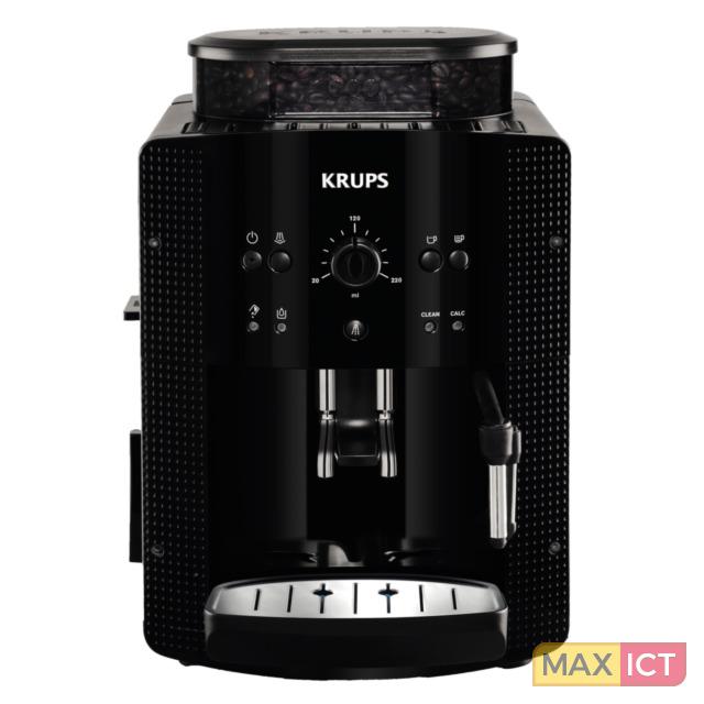 Krups Volautomatische espressomachine Roma Zwart EA8108. Producttype: Espressomachine, Koffiezet apparaat type: Volledig automatisch, Capaciteit watertank: 1,8 l, Koffie invoertype: Koffiebonen, Gemalen koffie, Reservoir v
