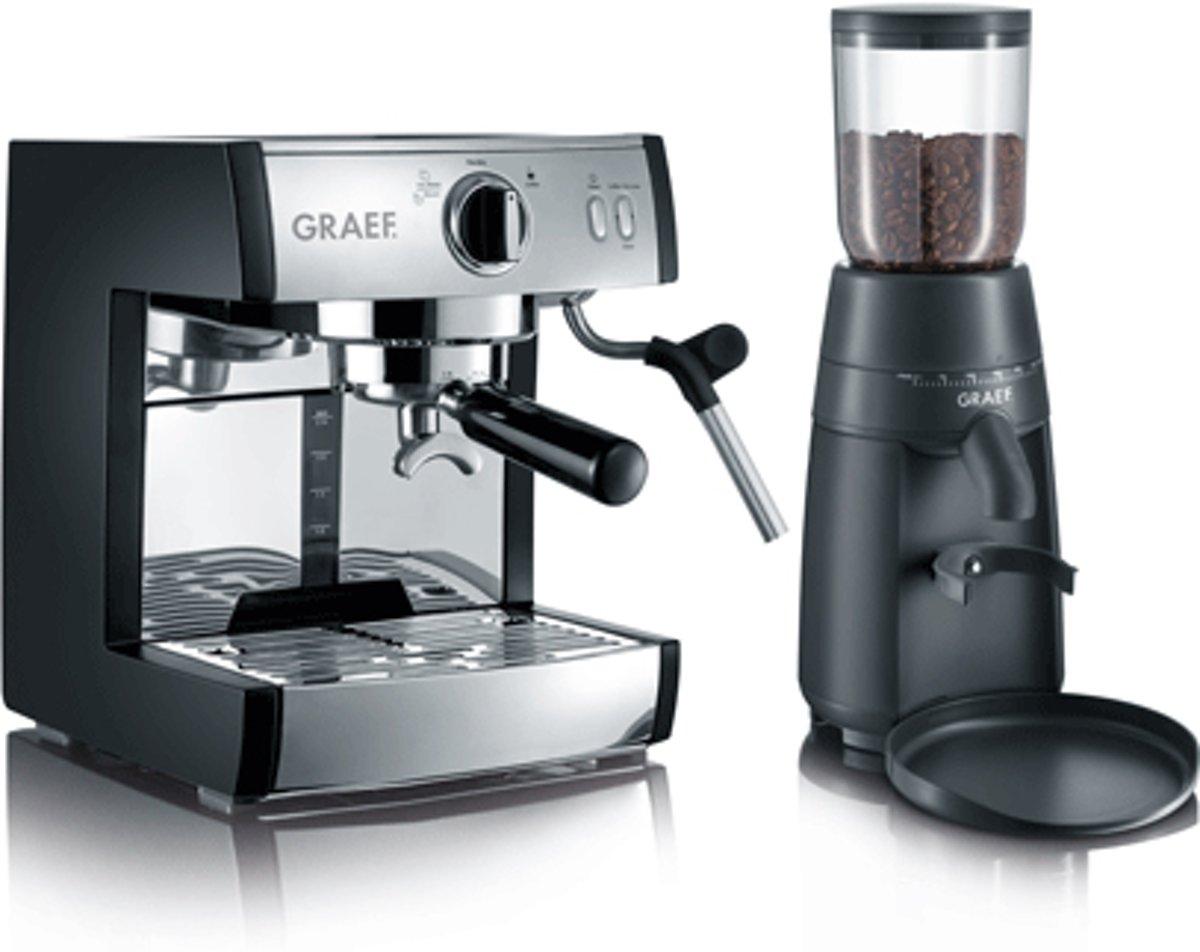 Espressomachine Graef Pivalla EUSET RVS 1410 W met melkopschuimer