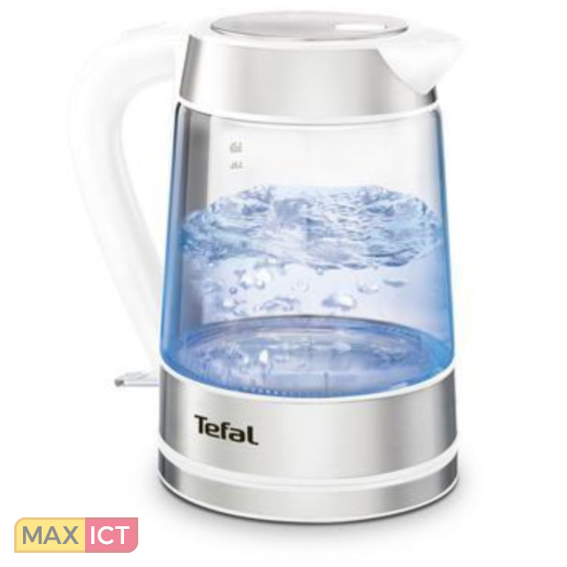Tefal KI730132. Capaciteit watertank: 1,7 l, Kleur van het product: Wit, Materiaal behuizin Glas, Roestvrijstaal, Waterniveau-indicator. Draadloos. Filtratie