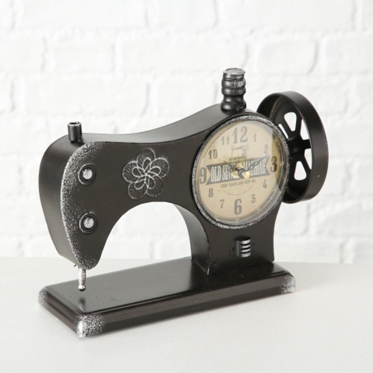 Klok - naaimachine model - Metaal - 29cm - Zwart