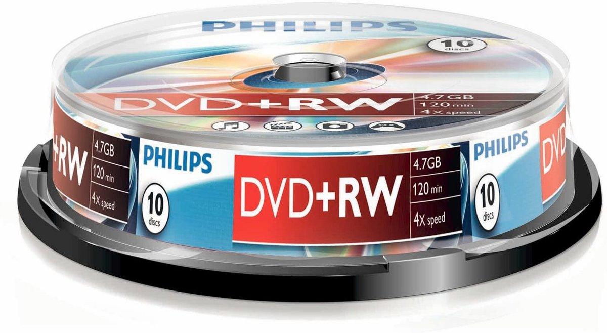 Philips DVD+RW 4,7GB 10pcs spindel 4x