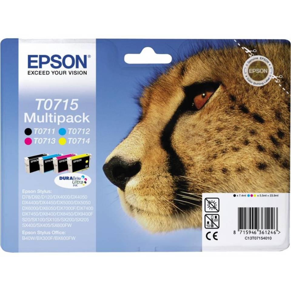 Epson T0715 multipack zwart en kleur Cartridge