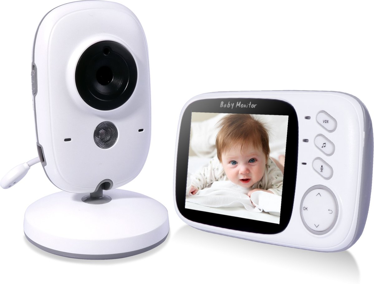 VB603 Babyfoon met Camera   2 Inch Video Babyphone   Baby Monitor met Kleurenmonitor   Wit