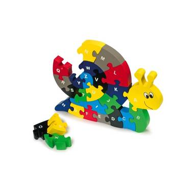 Houten Gekleurde Puzzel Slak 25 X 18 X 2 cm