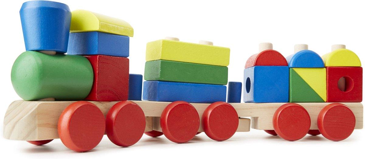 Melissa & Doug Houten Stapeltrein - Klassiek houten speelgoed (18-delig)