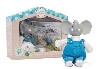 Meiya & Alvin cadeaubox Alvin de olifant grijs/blauw