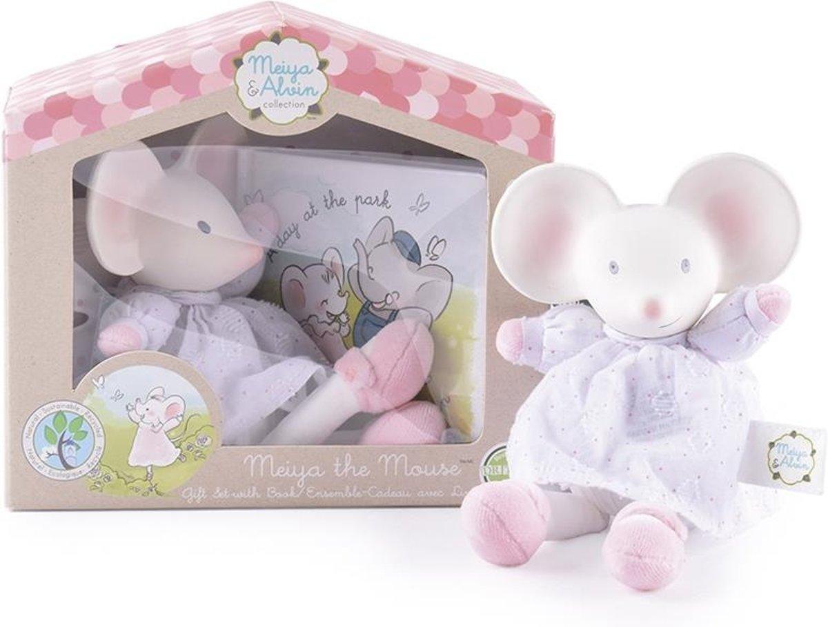 Meiya & Alvin cadeaubox Meiya de muis wit/roze 19 cm