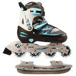 Nijdam inline- en ijsschaatsen combo 31-34 zwart/zilver/blauw 52SZ