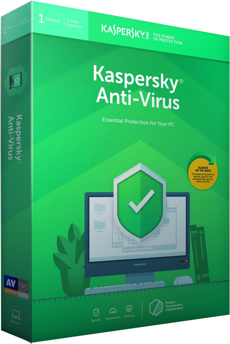 Kaspersky Anti-Virus 2019 - 1 Apparaat - 1 Jaar - Nederlands / Frans - Windows Download