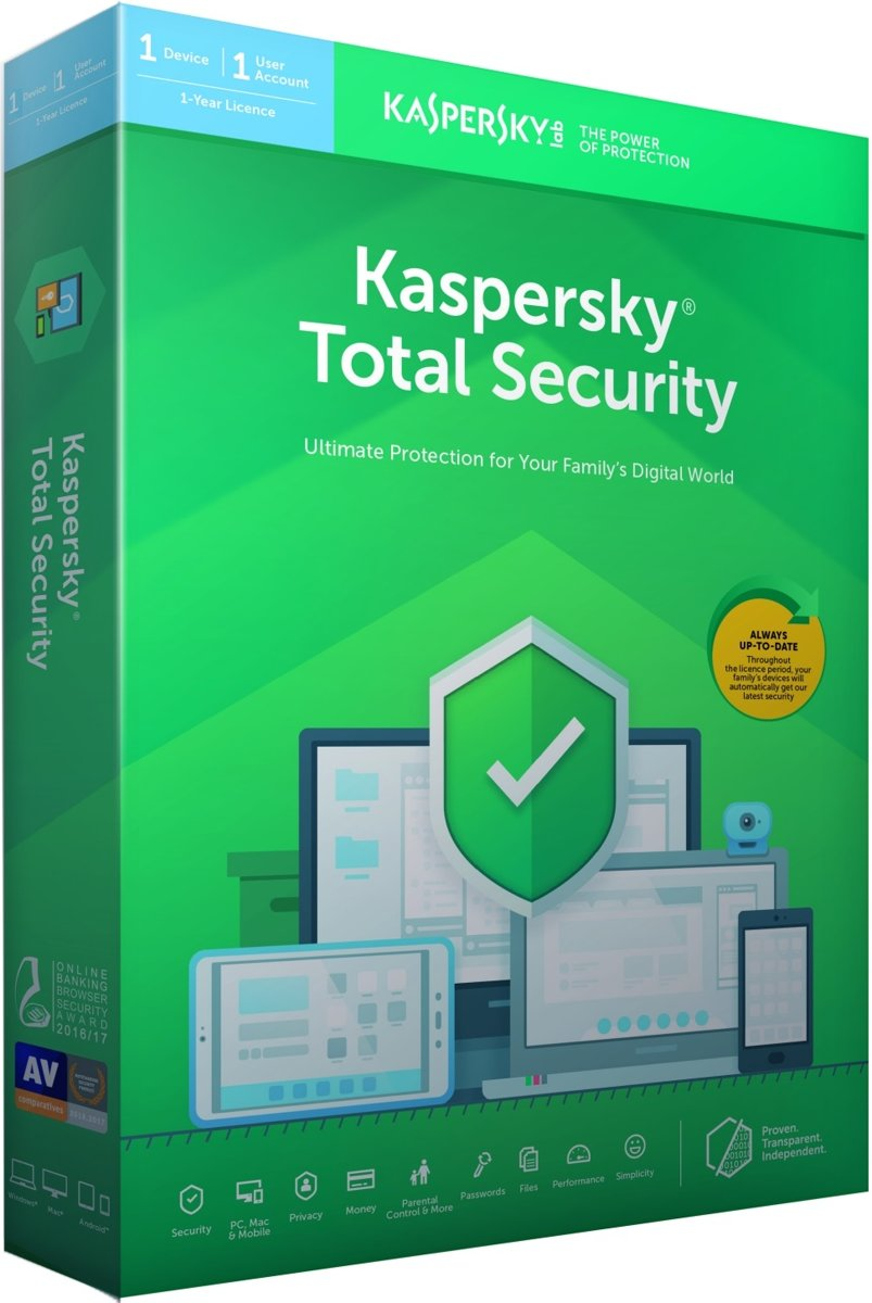Kaspersky Total Security - Multi-Device - 1 Apparaat - 1 Jaar - Nederlands / Frans - Windows / Mac Download