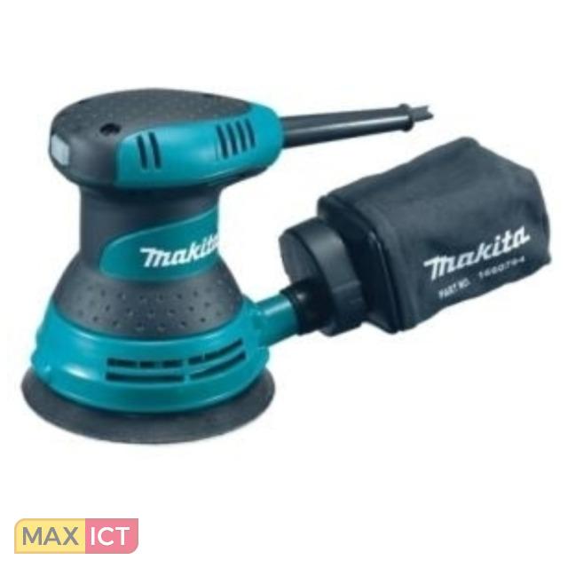 Makita BO5030. Type schuurmachine: Schuurmachine, Stofzuigercontainer type: Stofzak, Schuurplateau vorm: Rond. Cirkelbeweging (max): 12000 OPM, Geluidsdrukniveau: 80 dB, Vibratie emissie: 4,5 m/s². Vermogen: 300 W, AC inv