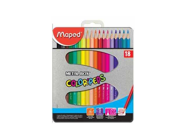 Color peps kleurpotlood - metalen doos x 18