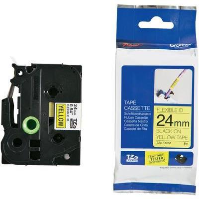 Brother TZe-FX651 Labeltape flexibel Tapekleur: Geel Tekstkleur:Zwart