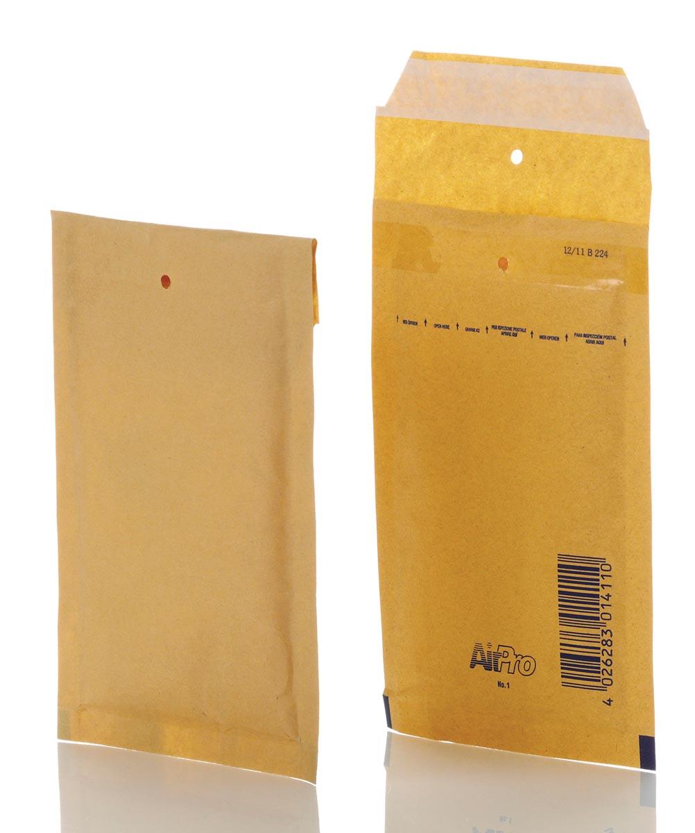 Bong luchtkussenenveloppen ft 110 x 165 mm met stripsluiting, bruin, doos van 200 stuks
