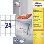 Avery-Zweckform Universele etiketten 3658 ( 64.6 mm x 33.8 mm ),Wit, 2400 stuks, Permanent hechtend