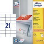 Avery-Zweckform Universal-Etiketten 3652-200 ( 70 mm x 42.3 mm ),Wit, 4200 stuks, Permanent hech