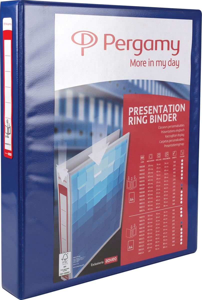Pergamy personaliseerbare ringmap, ft A4, 4 D-ringen van 25 mm, blauw