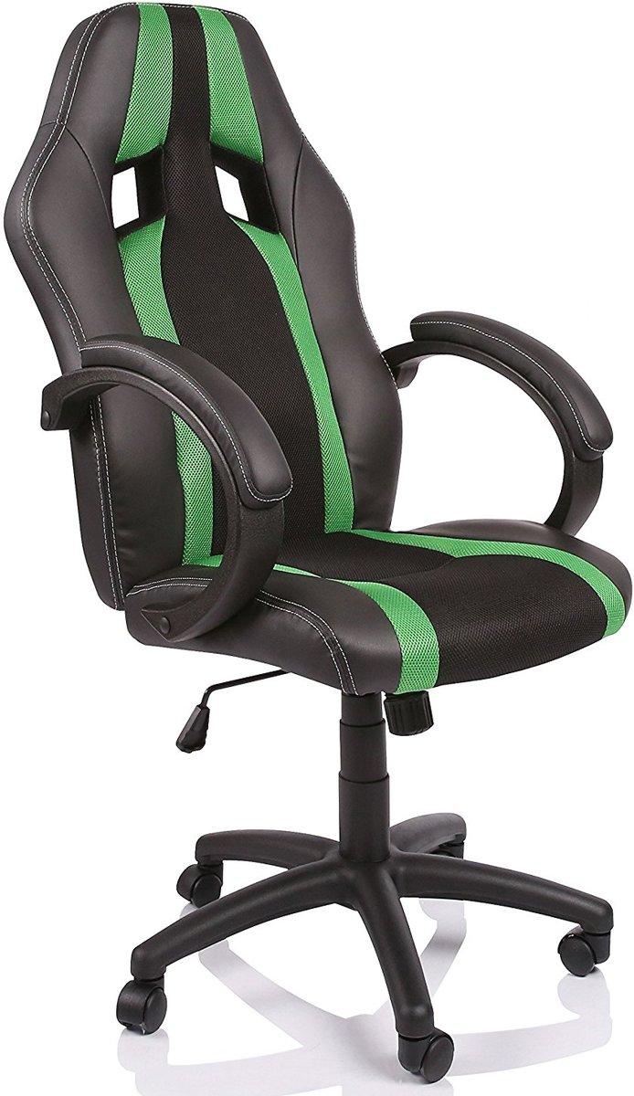 Racing bureaustoel, Zwart/Groen gestreept, draaistoel, gevoerde armleuningen, kantelmechanisme, Lift SGS gecontroleerd