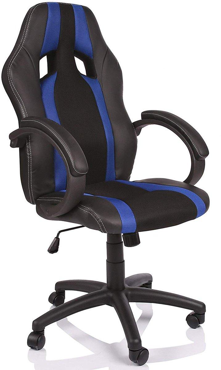 Racing bureaustoel, Zwart/Blauw gestreept, draaistoel, gevoerde armleuningen, kantelmechanisme, Lift SGS gecontroleerd