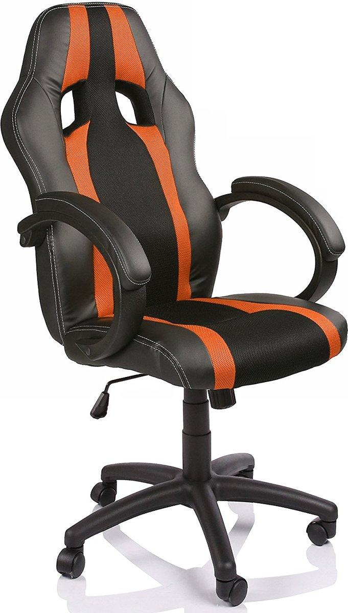 Racing bureaustoel, Zwart/Oranje gestreept, draaistoel, gevoerde armleuningen, kantelmechanisme, Lift SGS gecontroleerd