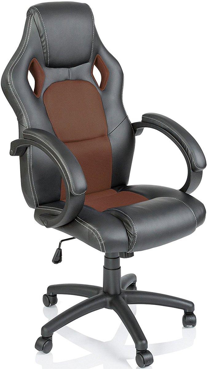 Racing bureaustoel Zwart/goudbruin , gevoerde armleuningen, kantelmechanisme, gasveer SGS getest
