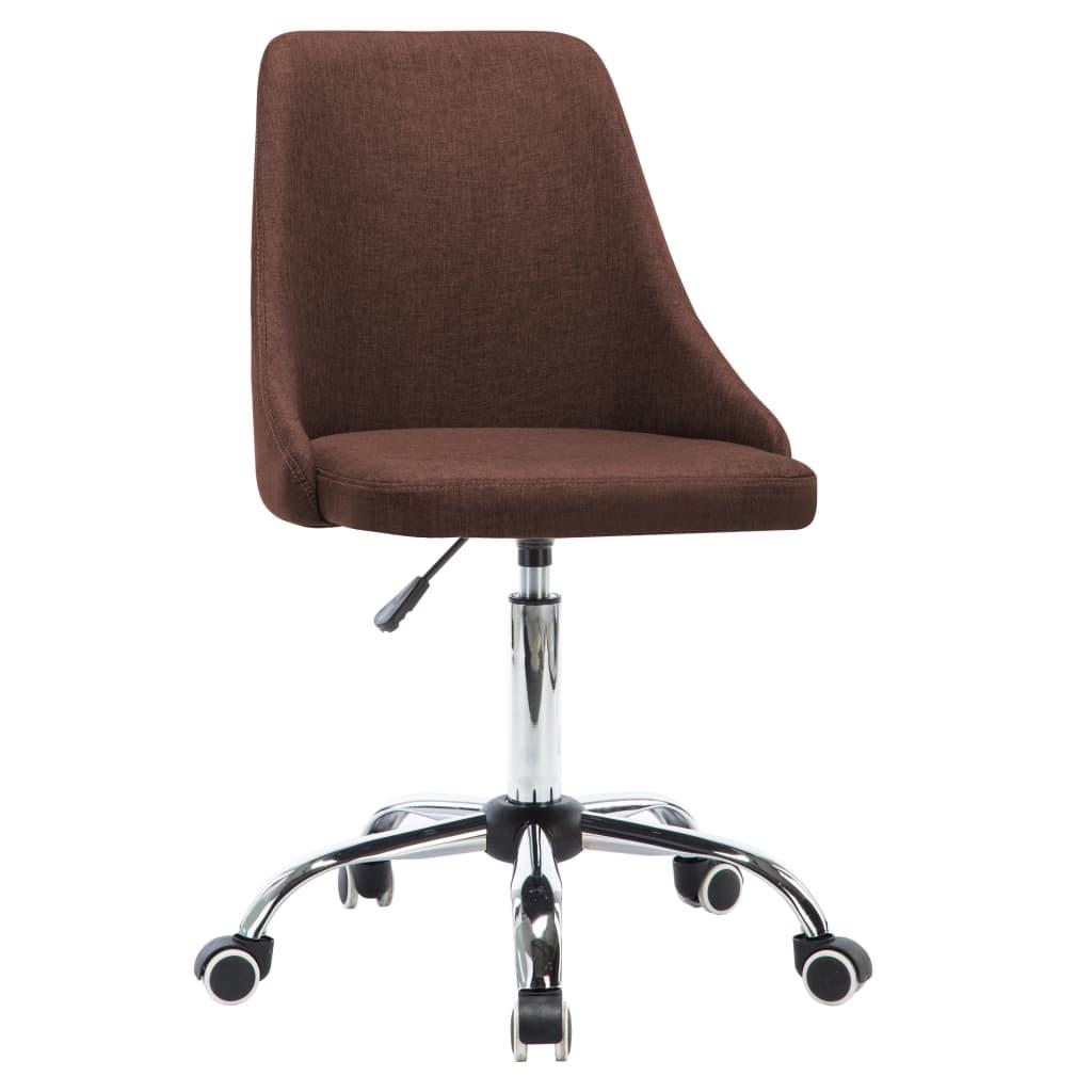 vidaXL Kantoorstoelen met wieltjes 2 st stof bruin