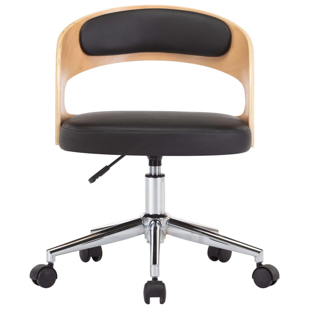 vidaXL Kantoorstoel draaibaar gebogen hout en kunstleer zwart